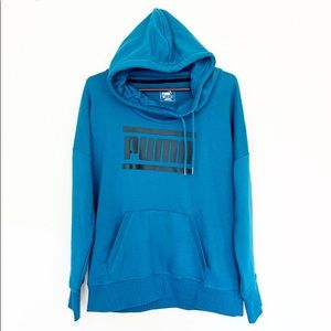 Puma Men's Blue Black Long Sleeve Hoodie XL/TG B